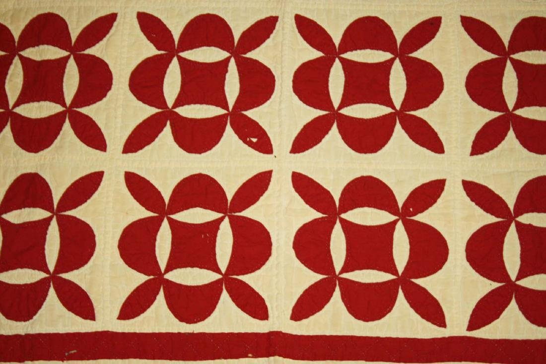 late 19th c red & white applique quilt - 10