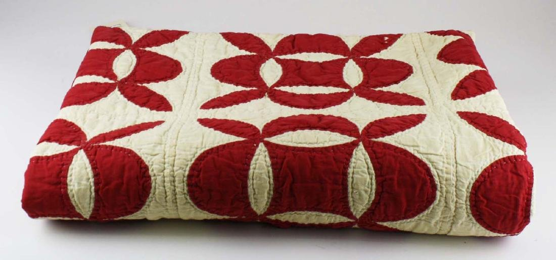 late 19th c red & white applique quilt