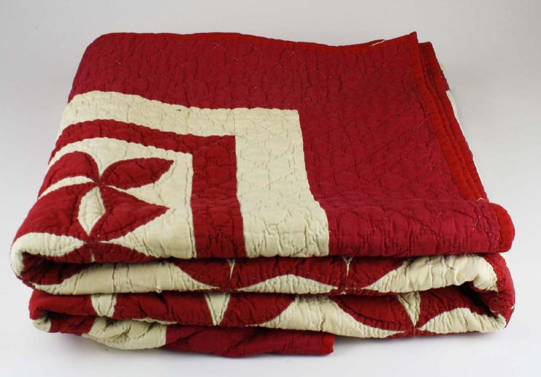late 19th c red & white applique quilt - 2