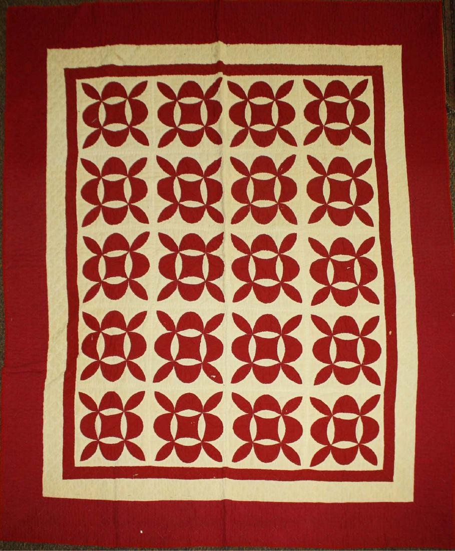 late 19th c red & white applique quilt - 3