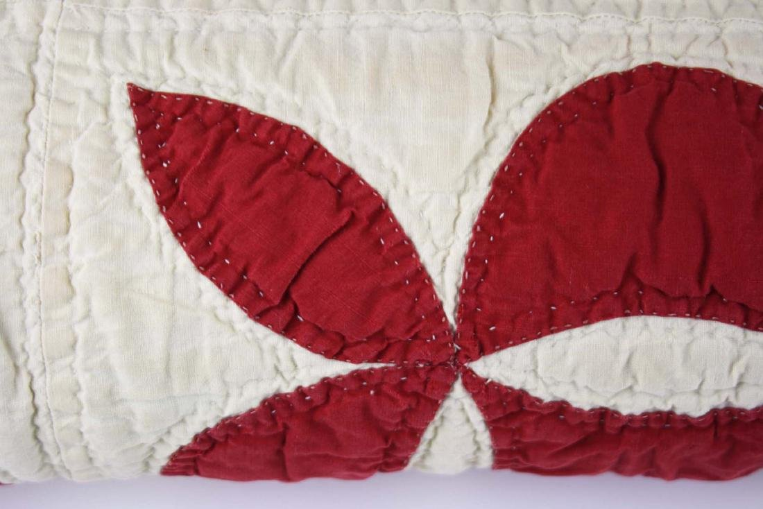 late 19th c red & white applique quilt - 4