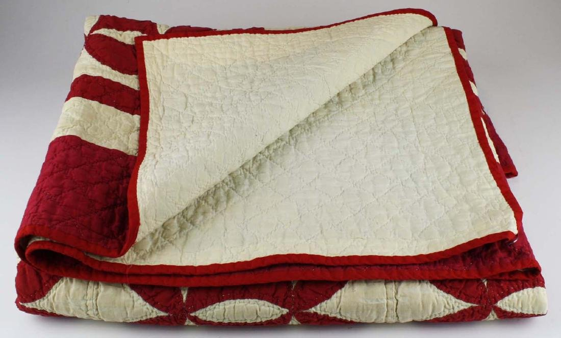 late 19th c red & white applique quilt - 6
