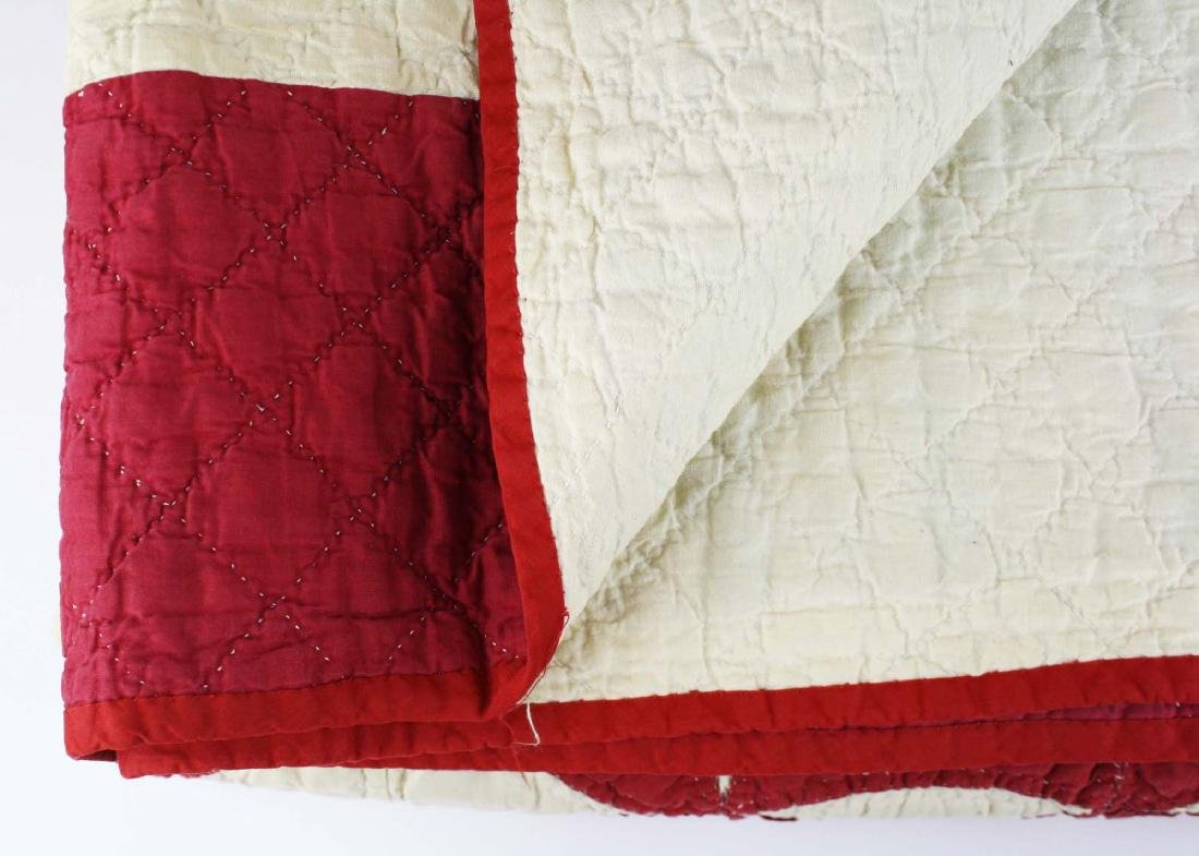 late 19th c red & white applique quilt - 7