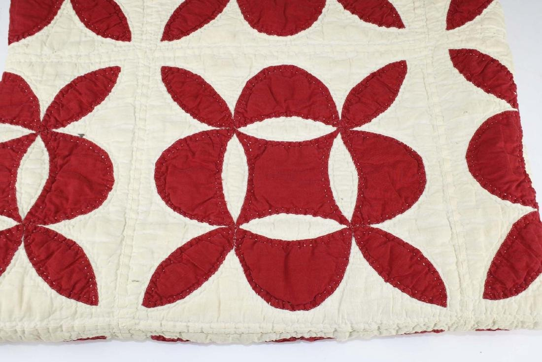late 19th c red & white applique quilt - 9