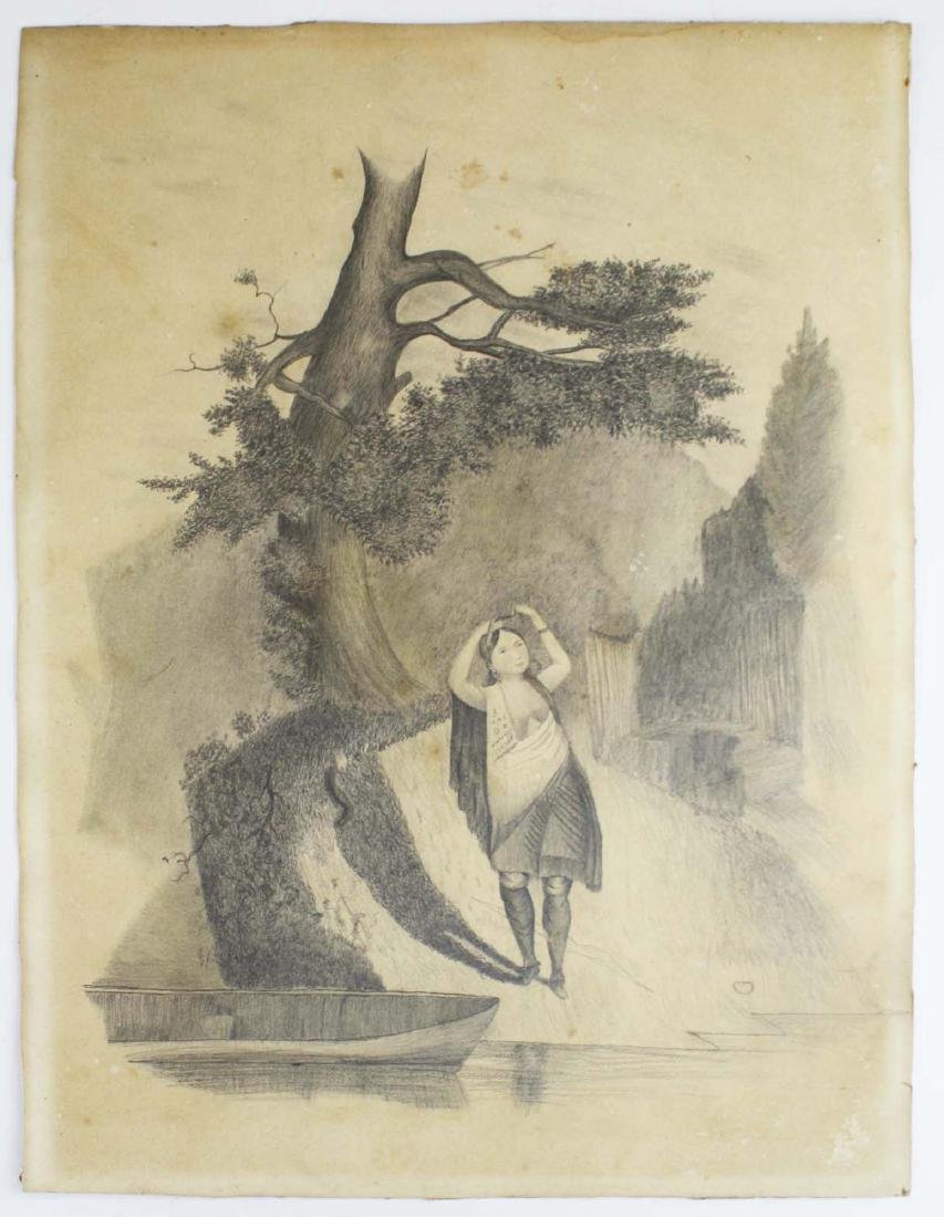 mid 19th c schoolgirl drawing of a Indian girl