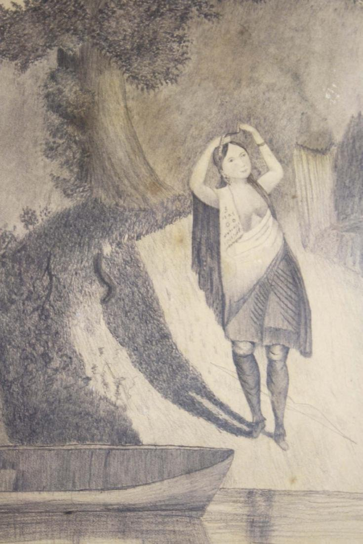 mid 19th c schoolgirl drawing of a Indian girl - 3