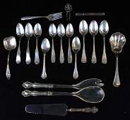 19 pcs sterling silver and coin flatware