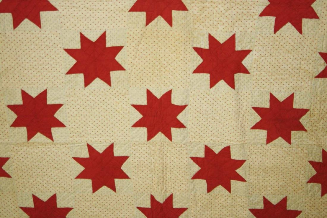 early 20th c red & white star pieced quilt - 10