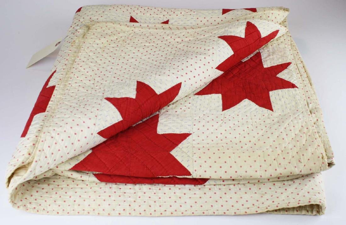 early 20th c red & white star pieced quilt
