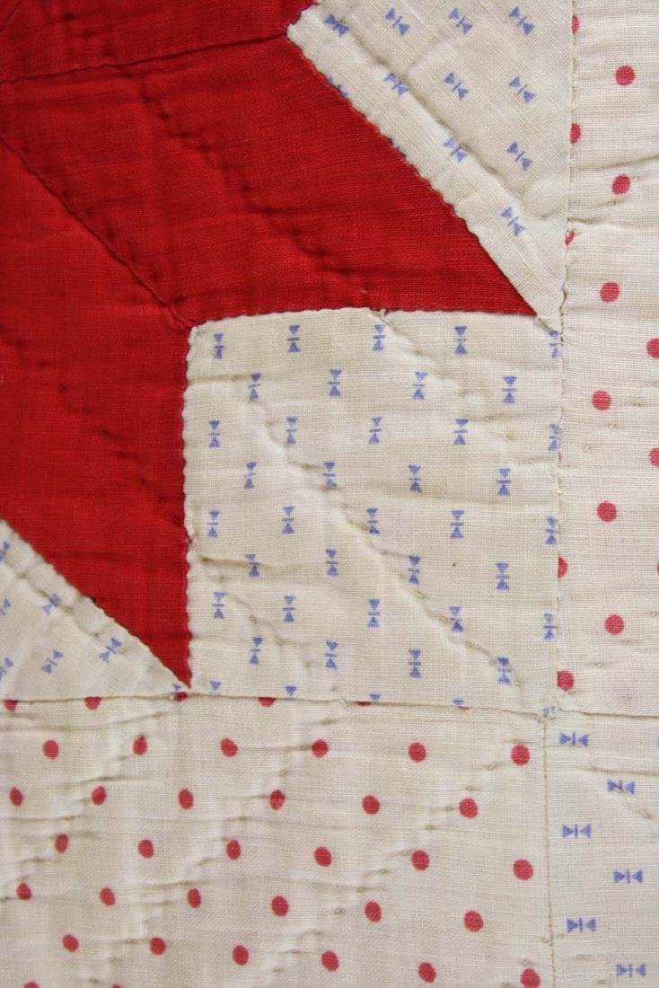 early 20th c red & white star pieced quilt - 2