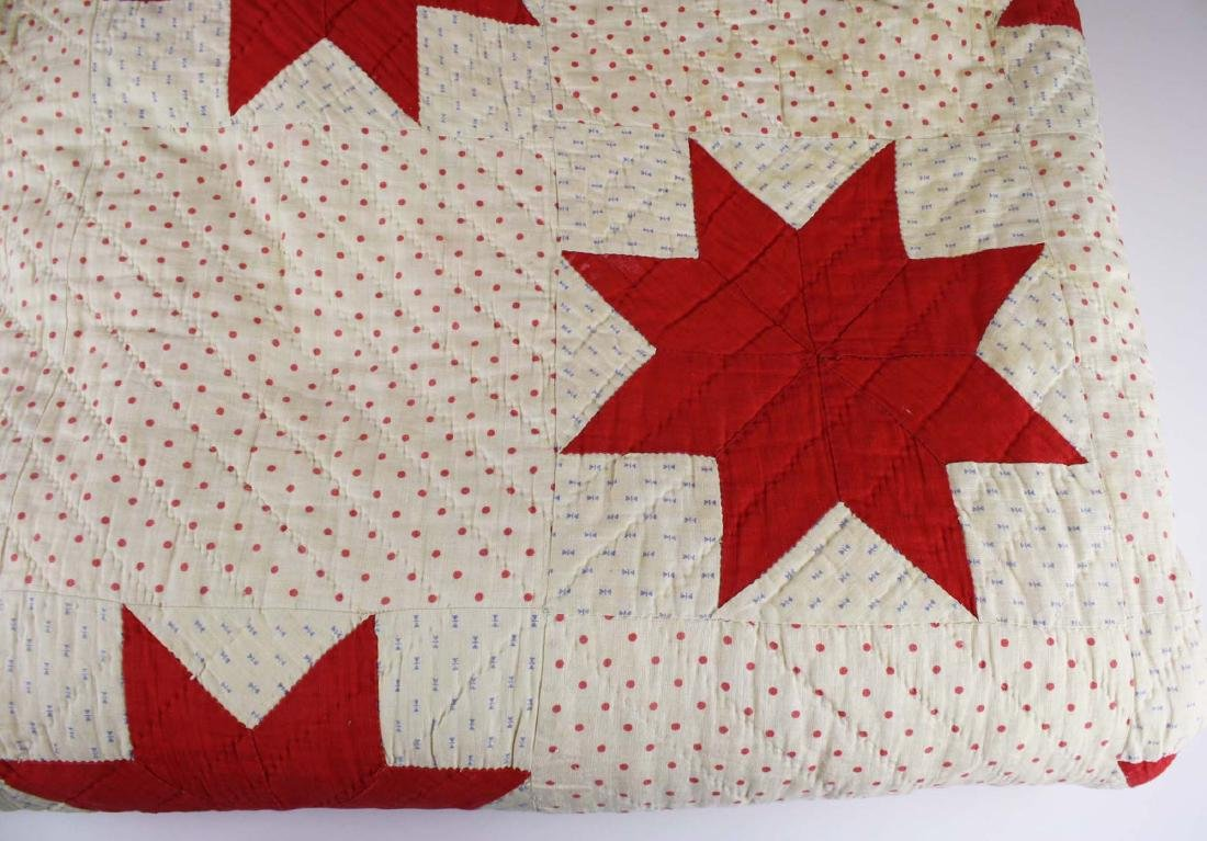 early 20th c red & white star pieced quilt - 3