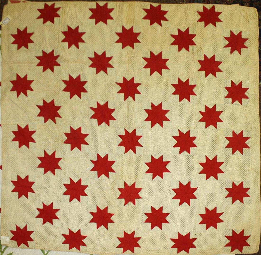 early 20th c red & white star pieced quilt - 4