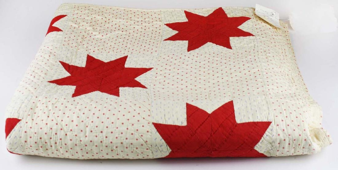 early 20th c red & white star pieced quilt - 6