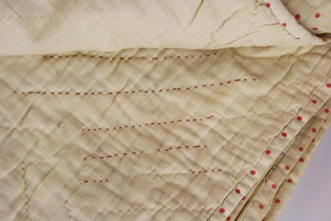 early 20th c red & white star pieced quilt - 9