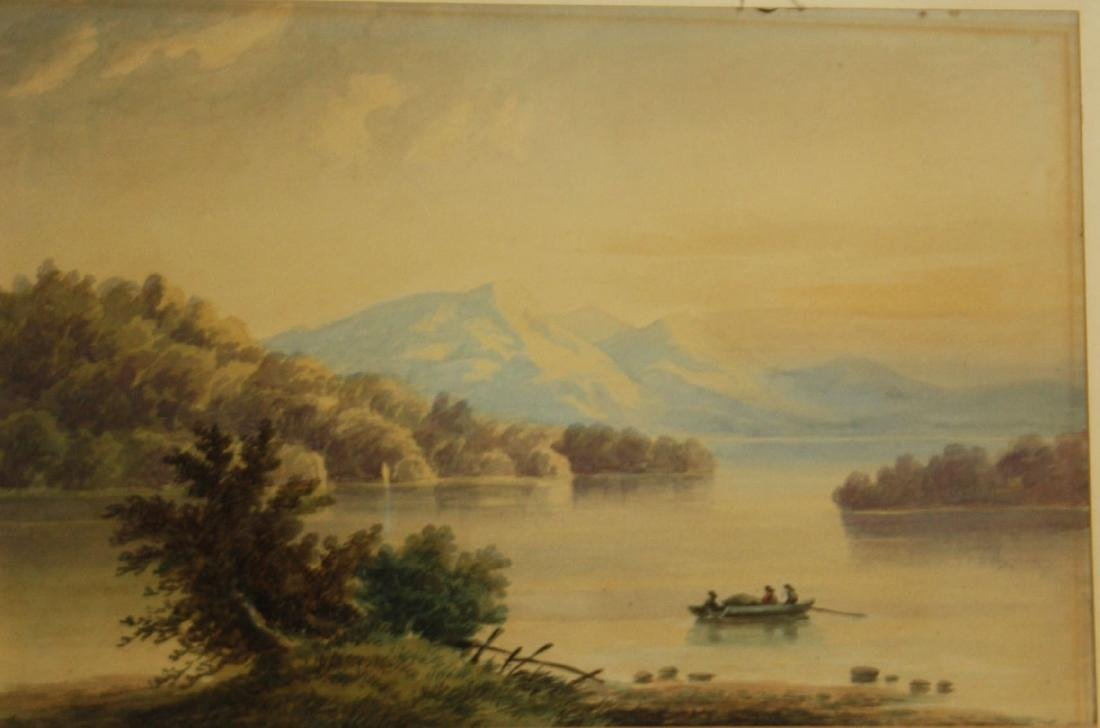 19th c watercolor with men in boat