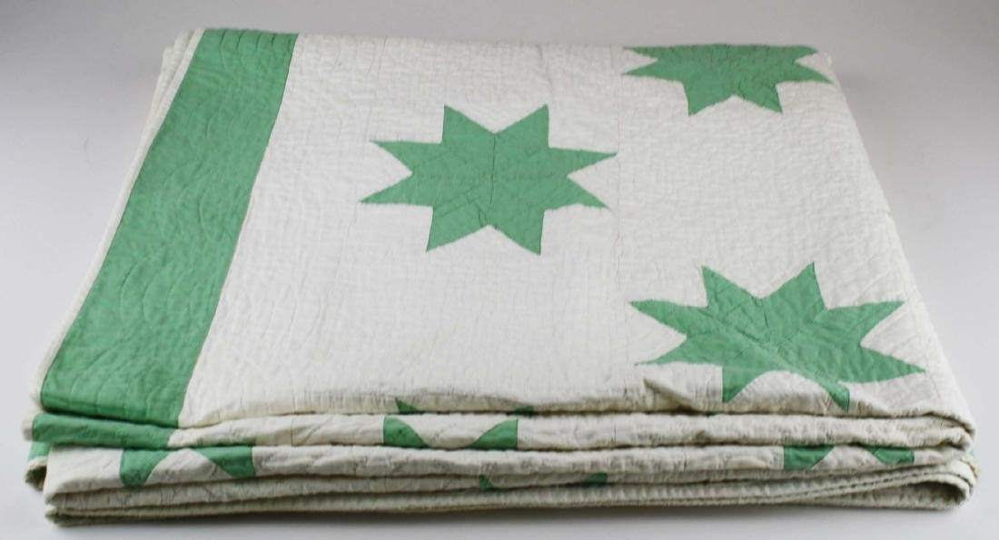 early 20th c green & white star pattern quilt