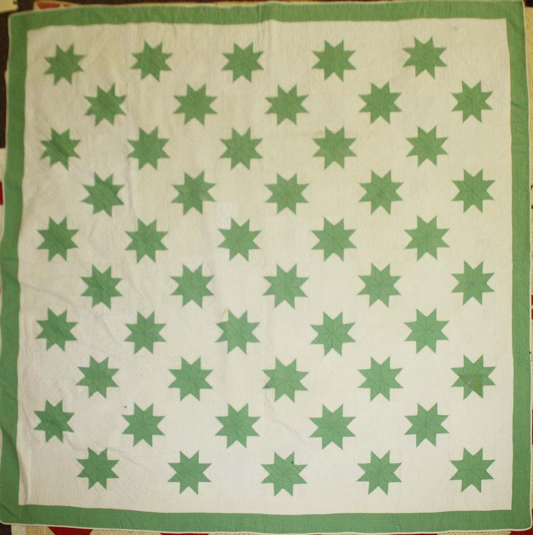 early 20th c green & white star pattern quilt - 2