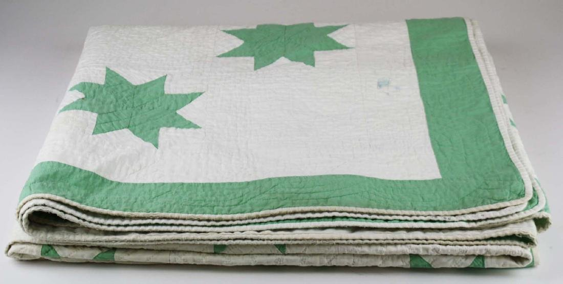 early 20th c green & white star pattern quilt - 8