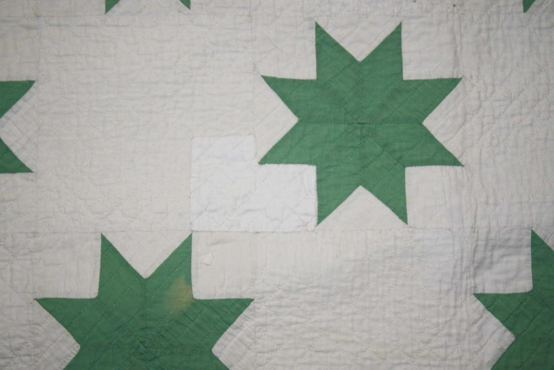 early 20th c green & white star pattern quilt - 9