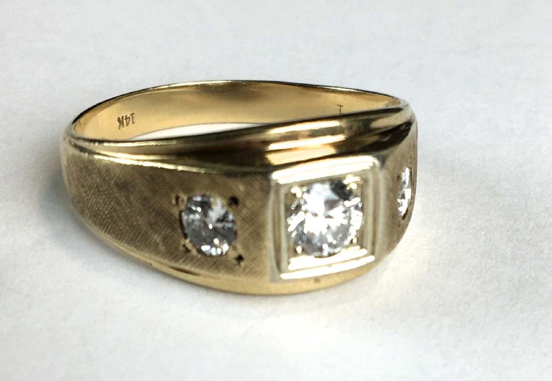 14 k y g and diamond three stone men's ring