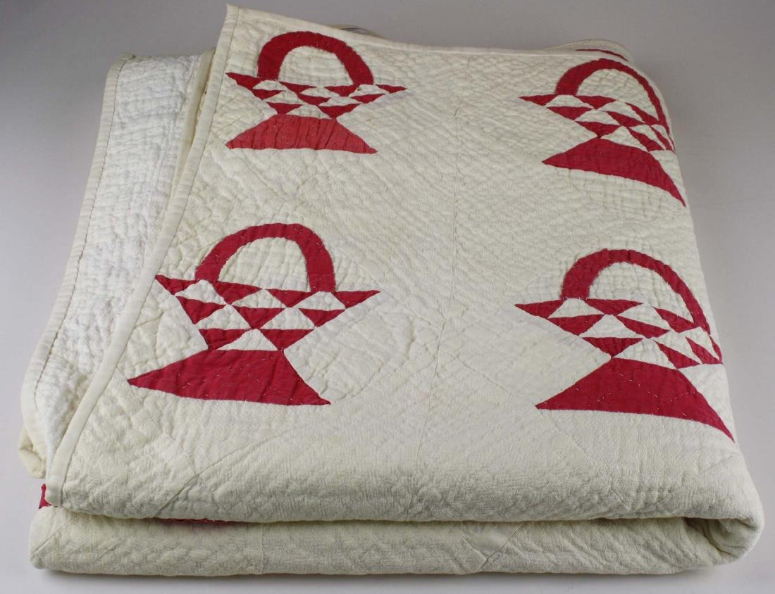 late 19th c basket pattern patchwork quilt