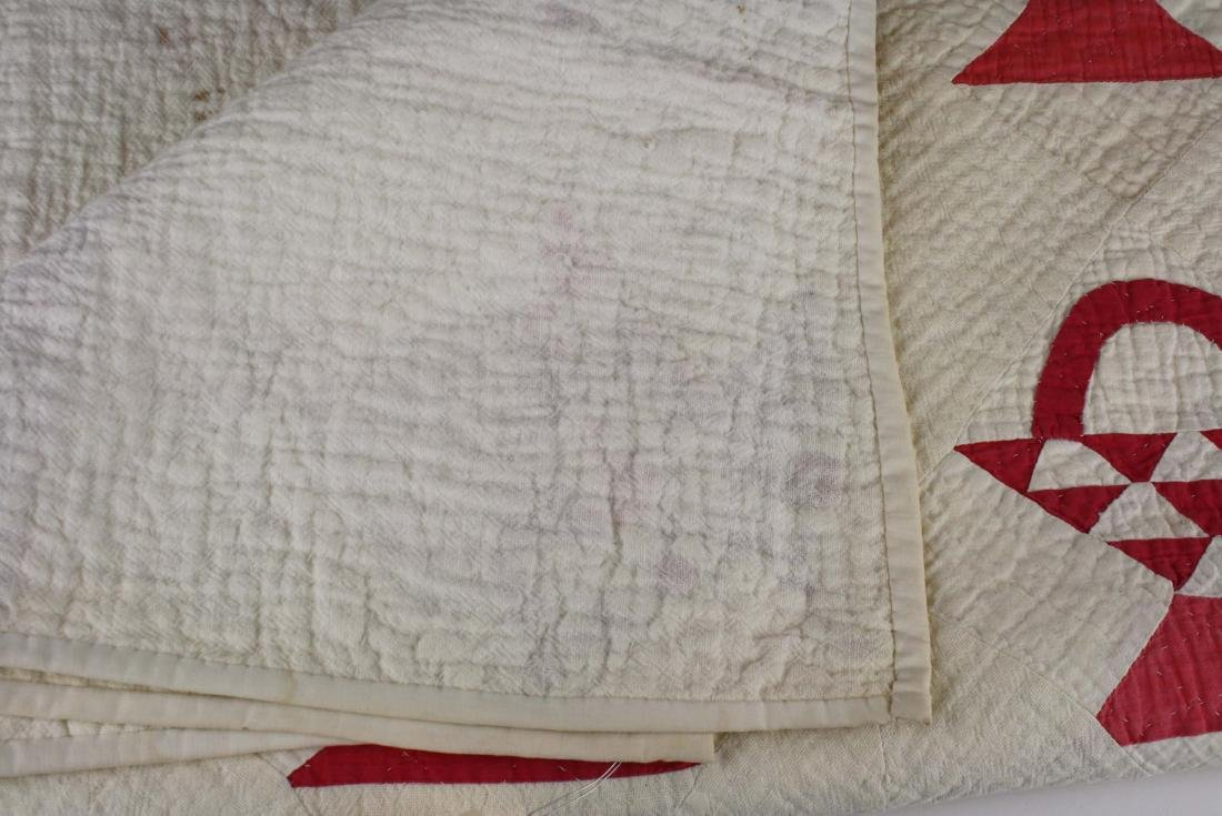 late 19th c basket pattern patchwork quilt - 7