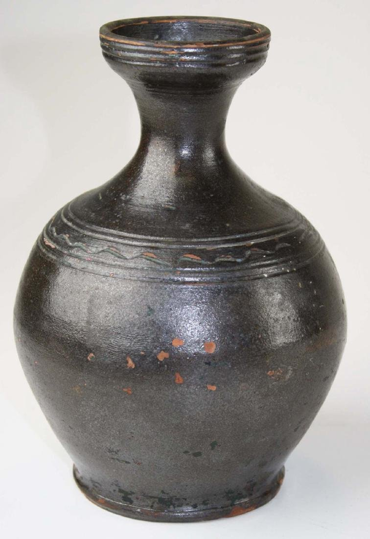 early 19th c redware ovoid bottle