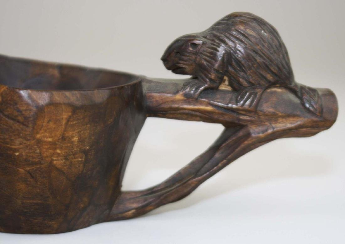 early 20th c voyageur canoe cup w/ beaver - 6