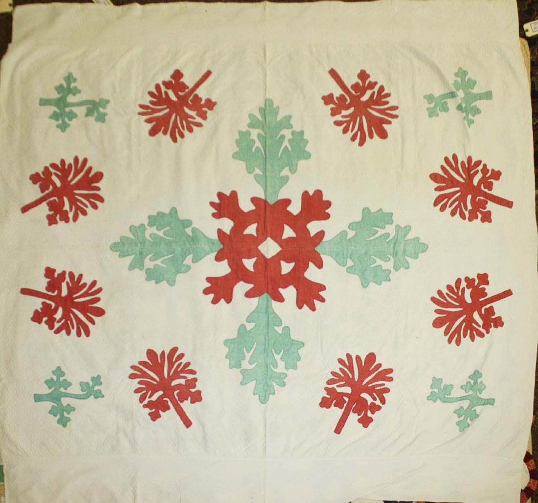 late 19th c green, red, & white applique quilt