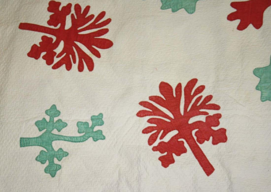 late 19th c green, red, & white applique quilt - 2