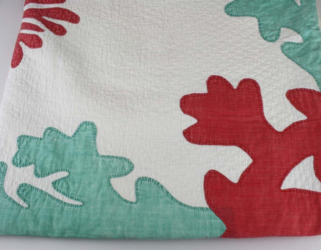 late 19th c green, red, & white applique quilt - 3