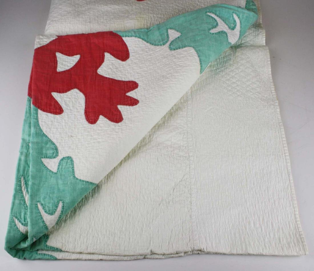 late 19th c green, red, & white applique quilt - 5