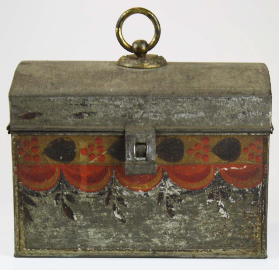 early 19th c painted toleware tin box