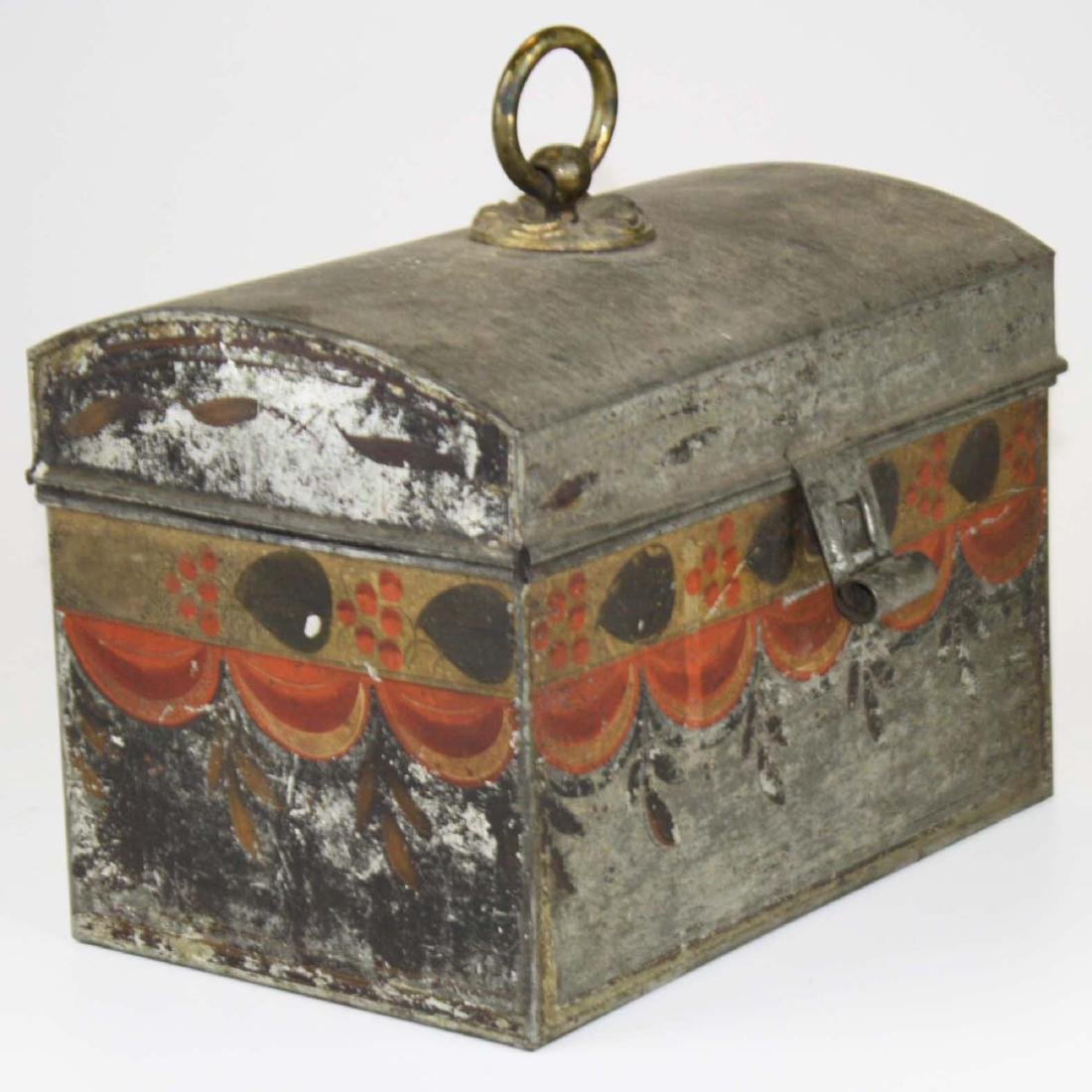 early 19th c painted toleware tin box - 2