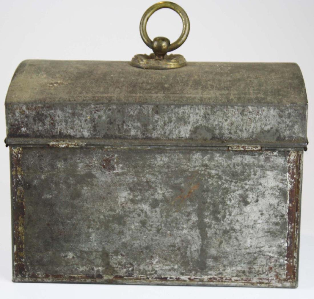 early 19th c painted toleware tin box - 3