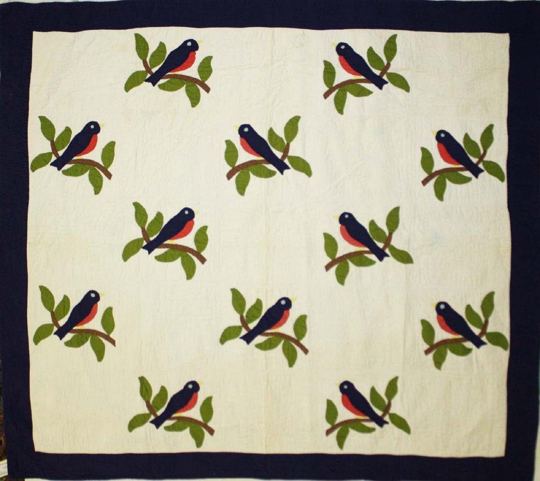 late 20th c bluebird applique quilt