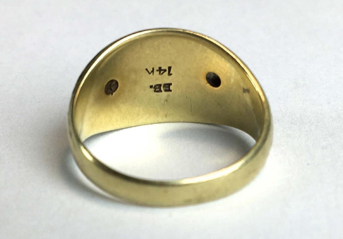 Mens 14k yellow gold & diamond Masonic ring - 2
