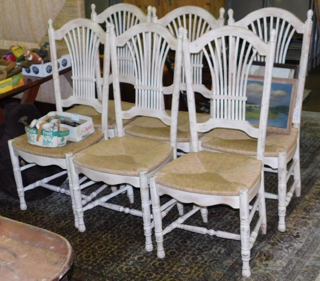 Set of six rush seat dining chairs