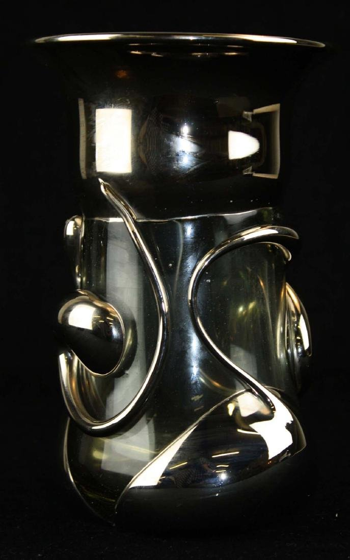 Wayne Filan VT silvered modern art glass vase