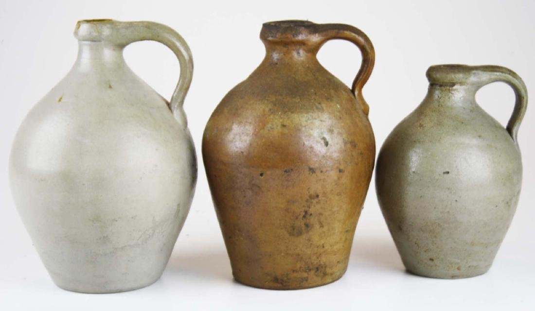 3 small early 19th c ovoid stoneware jugs