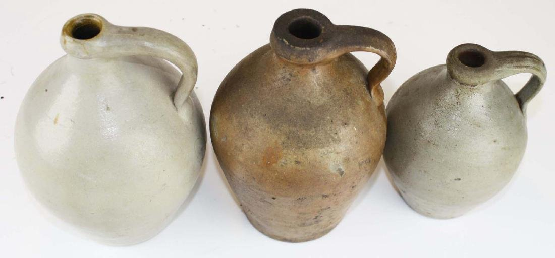 3 small early 19th c ovoid stoneware jugs - 2