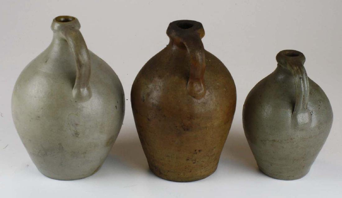 3 small early 19th c ovoid stoneware jugs - 3