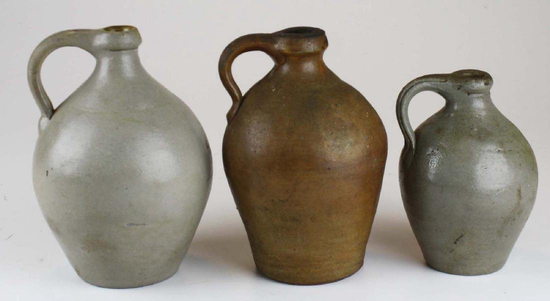 3 small early 19th c ovoid stoneware jugs - 4
