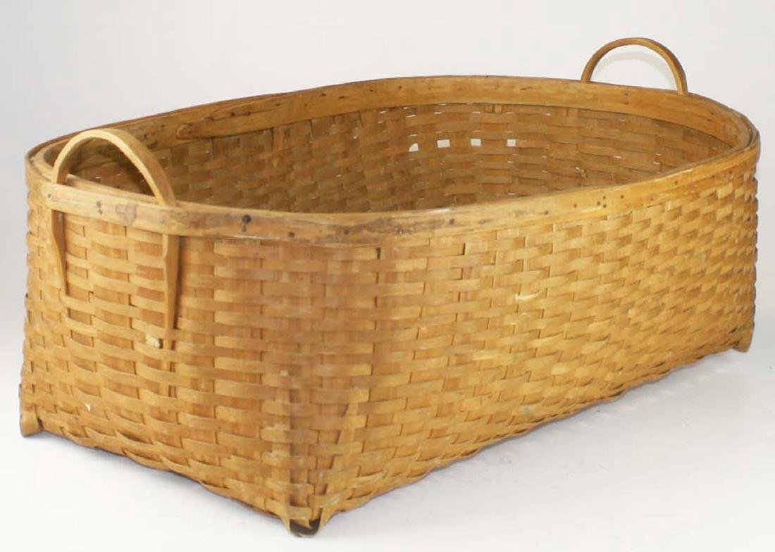 early 20th c double handled laundry basket - 2