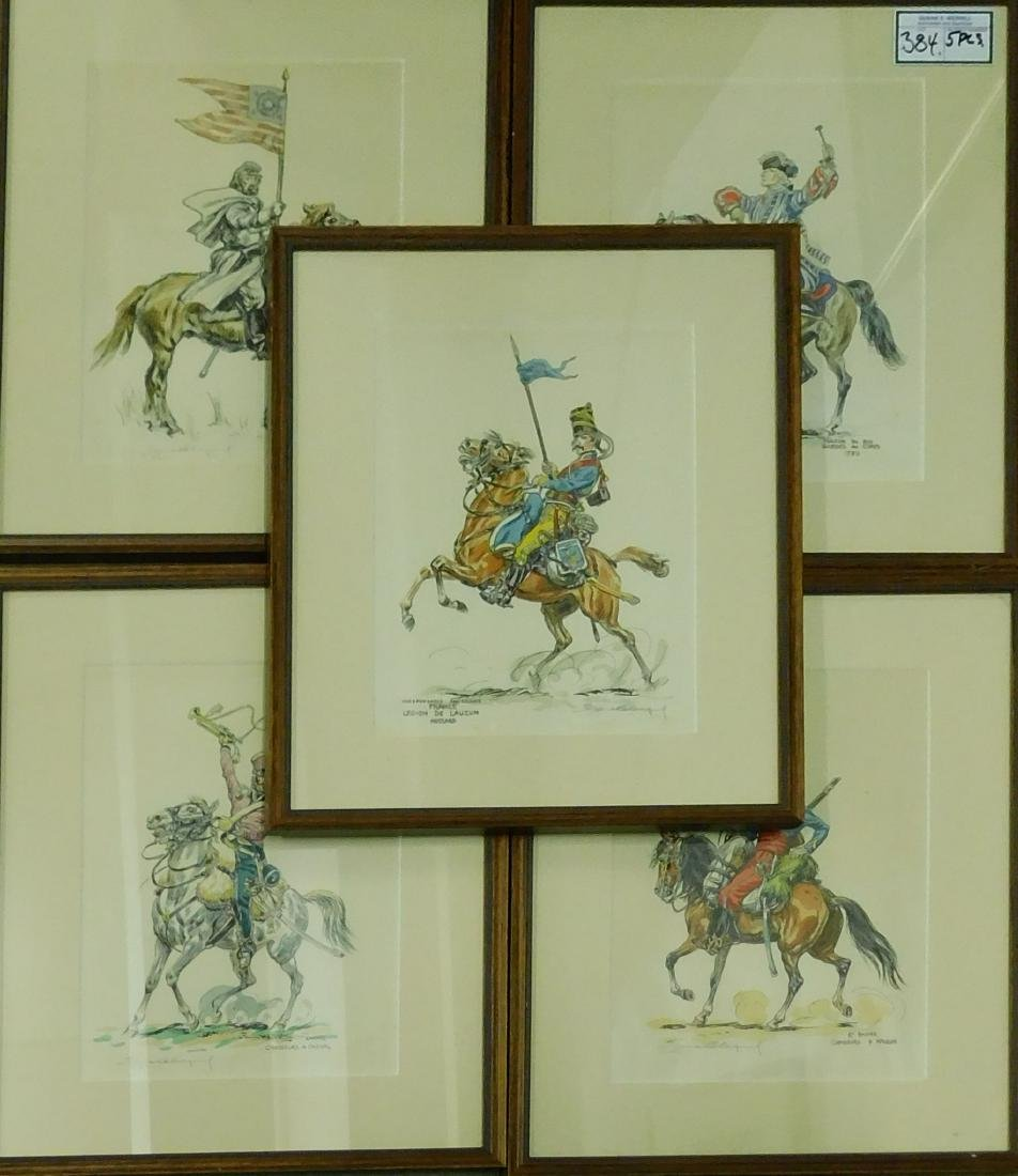 Five French Cavalry prints