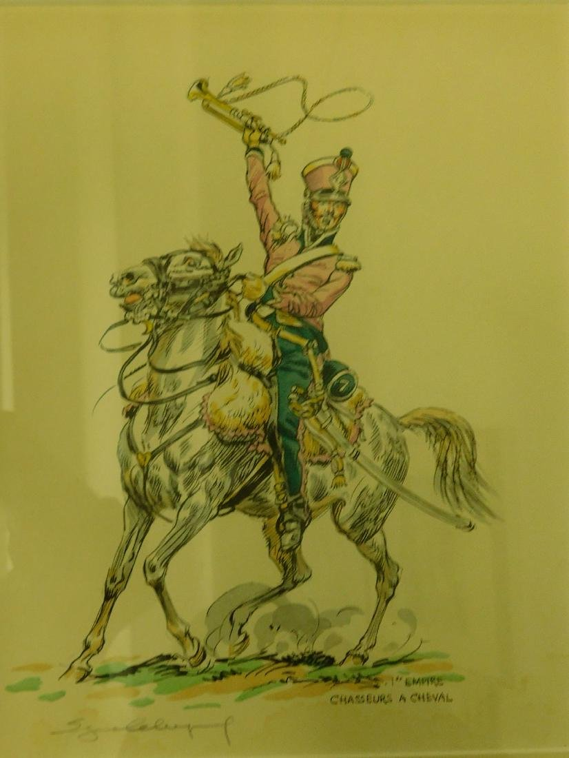 Five French Cavalry prints - 2