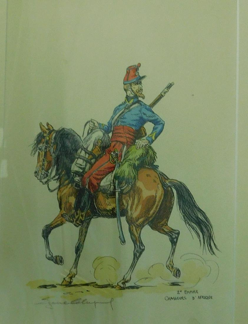 Five French Cavalry prints - 3