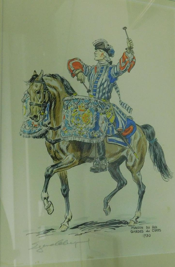 Five French Cavalry prints - 4