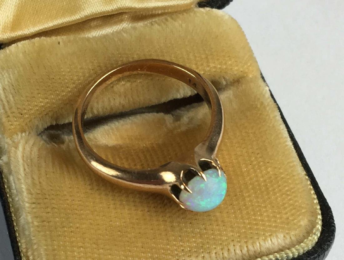 14k yellow gold and opal ring - 2