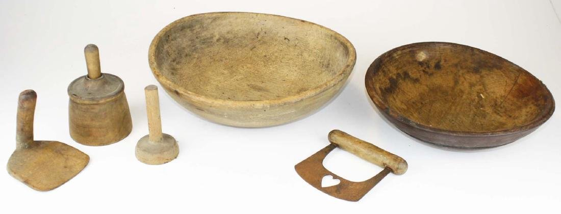 early 19th c woodenware bowls, butter molds